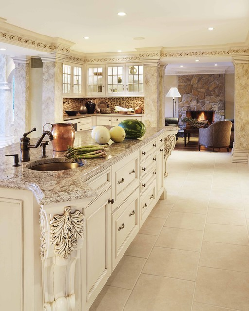 bianco antico granite Kitchen Traditional with ceiling lighting color of