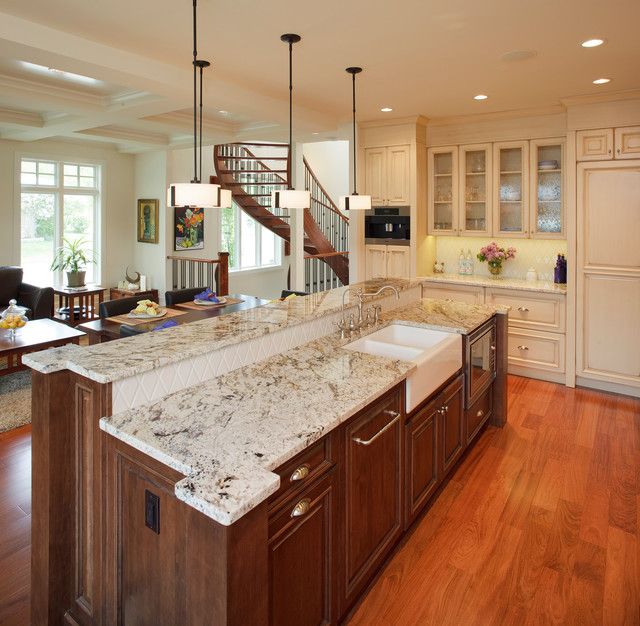 Bianco Antico Granite Kitchen Traditional with Dark Stained Wood Frame