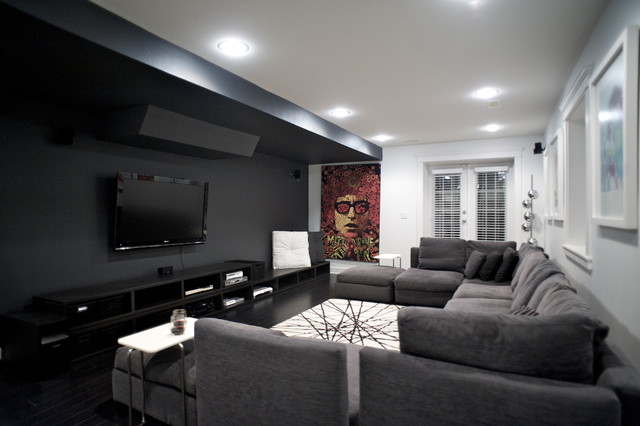 Black Out Blinds Home Theater Contemporary with Accent Wall Black And1