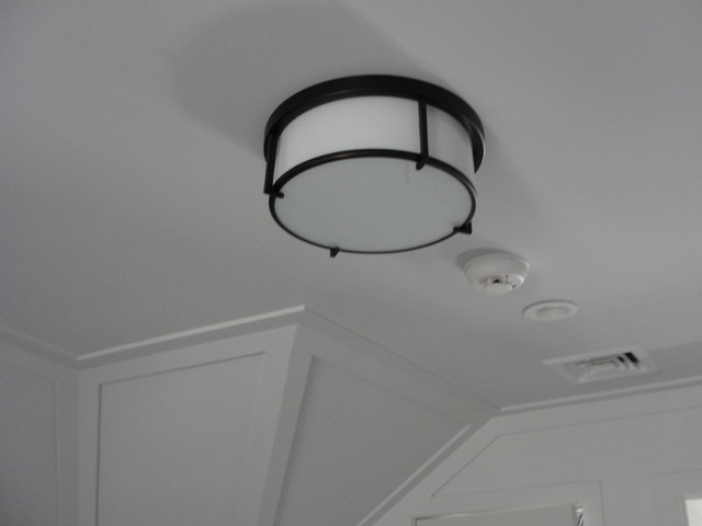 Blackman Plumbing Hall Transitional with Chandelier Hanging Lights White