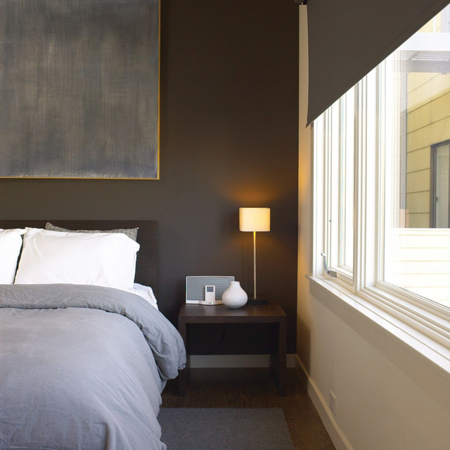 Blackout Blinds Bedroom Transitional with Accent Wall Bedside Table