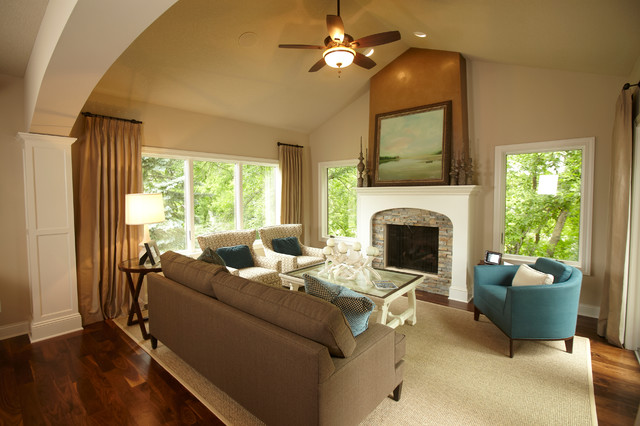 Bleeker Beige Family Room Traditional with Area Rug Armchairs Beige