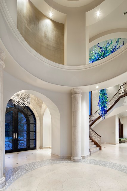 Blown Glass Chandelier Entry Contemporary with Arch Doorway Arched Door