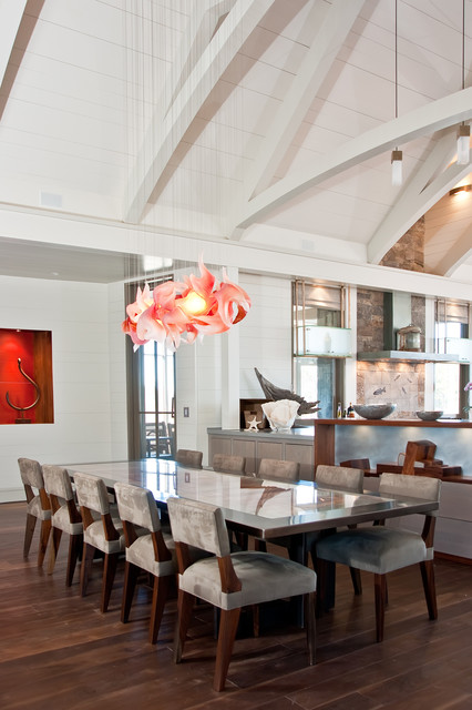 blown glass chandelier Kitchen Contemporary with artwork dark stained wood