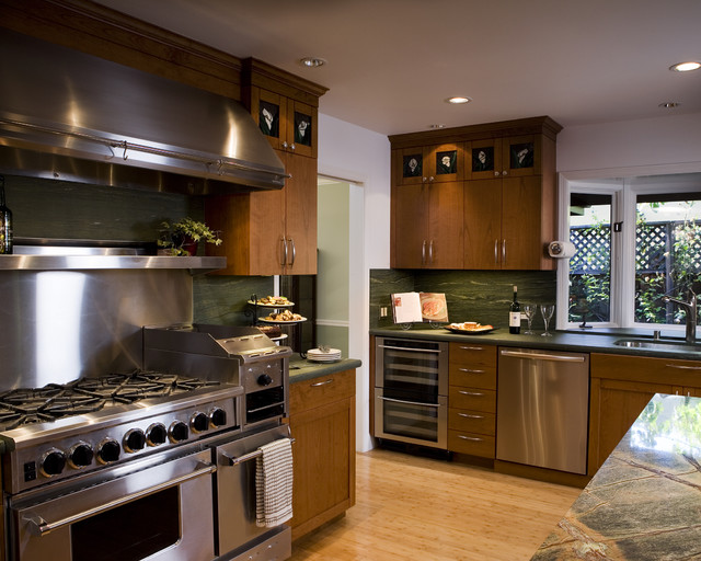Bluestar Range Kitchen Contemporary with Bamboo Flooring Ceiling Lighting