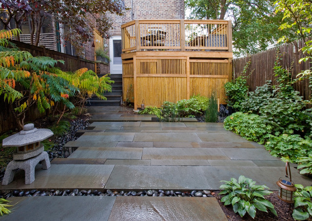 Bluestone Pavers Landscape Asian with Asian Bamboo Screen Fence