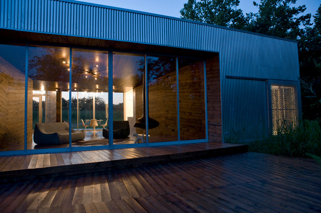 Board and Batten Siding Exterior Contemporary with Aluminum Storefront Concrete Floor