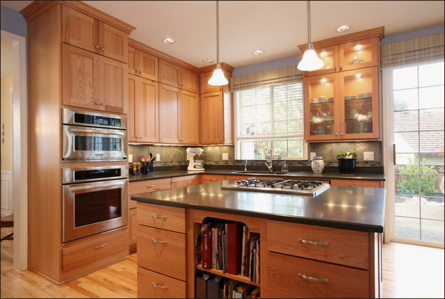 bob wallace appliance Kitchen Eclectic with ceiling lighting glass front