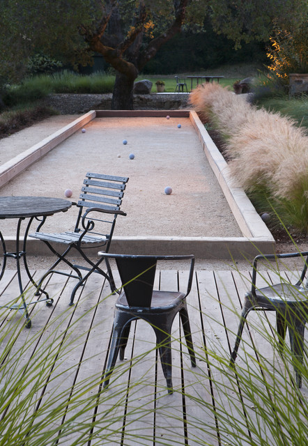 Bocce Ball Court Landscape Contemporary with Accent Lighting Bistro Table