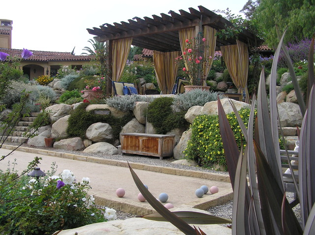 Bocce Ball Court Landscape Mediterranean with Bocce Ball Court Boulders