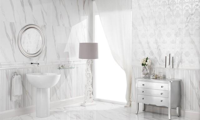 Bombe Chest Bathroom Traditional with Carrera Marble Carved Floor1