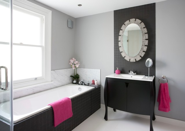 Bombe Chest Bathroom Transitional with Bath Panel Black And