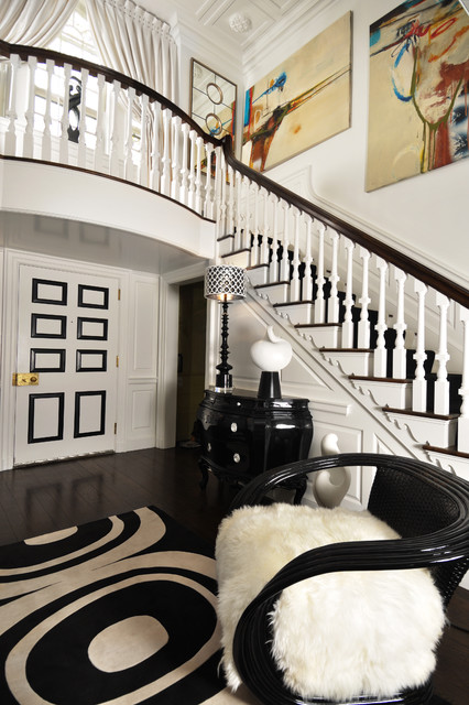 Bombe Chest Entry Contemporary with Balcony Black and White