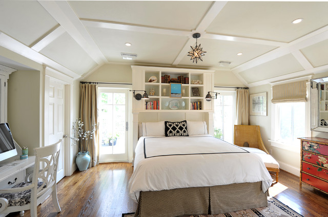 bookcase headboard Bedroom Transitional with alcove beige walls black