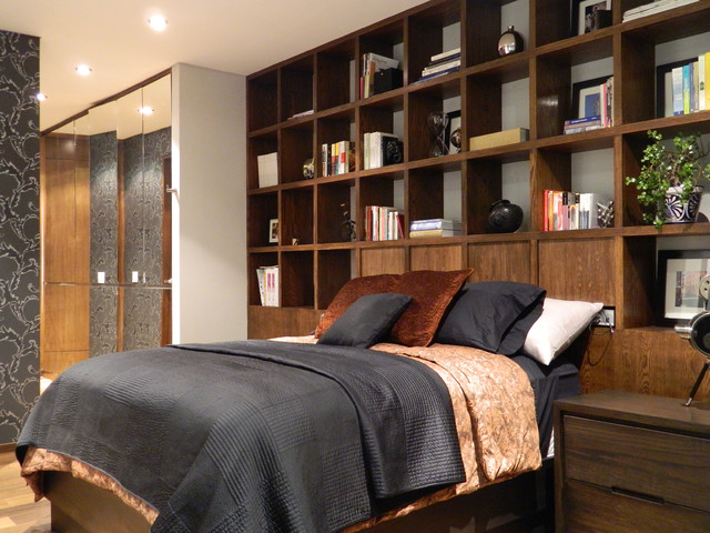 bookshelf headboard Bedroom Contemporary with bed pillows bedside table