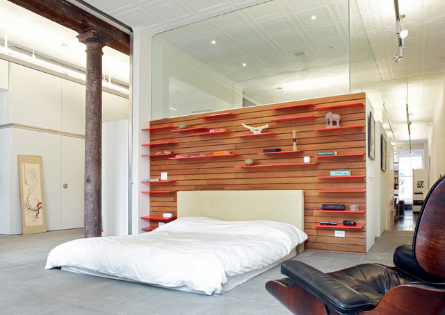 Bookshelf Headboard Bedroom Modern with Collection Columns Exposed Beams