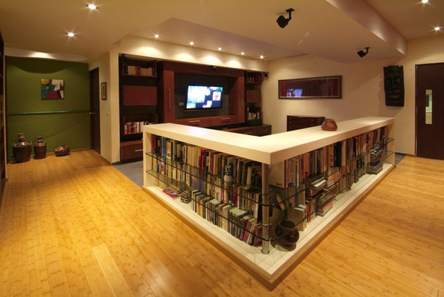 Bookshelf Room Divider Basement Contemporary with Aurelio Vazquez Contemporary Interior
