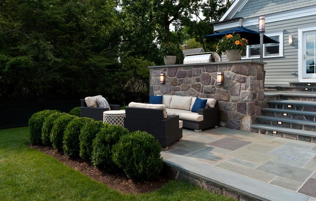 Boxwood Shrubs Patio Victorian with Grass Hedge Lawn Outdoor