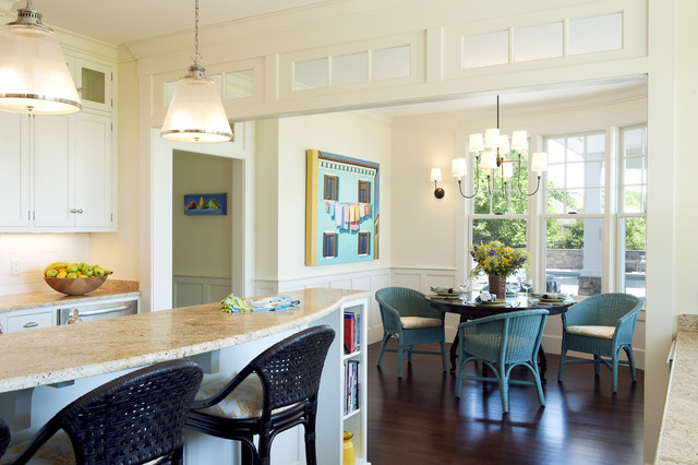 Breakfast Nook Furniture Kitchen Transitional with Blue Chairs Bookshelves Breakfast