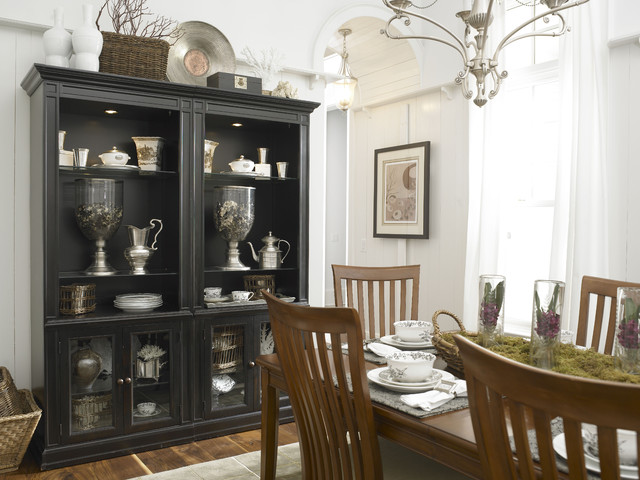 Breakfront Dining Room Eclectic with Basket Black Cabinet Black