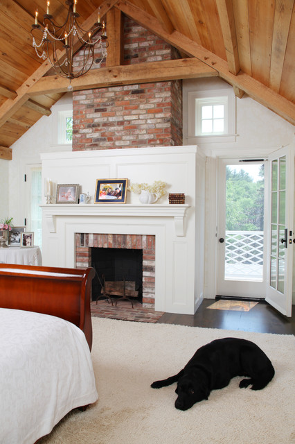 Brick Fireplace Makeover Bedroom Farmhouse with Barn Brick Chimney Cathedral
