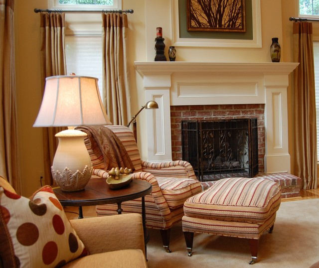 brick fireplace makeover Family Room Traditional with area rug armchair beige