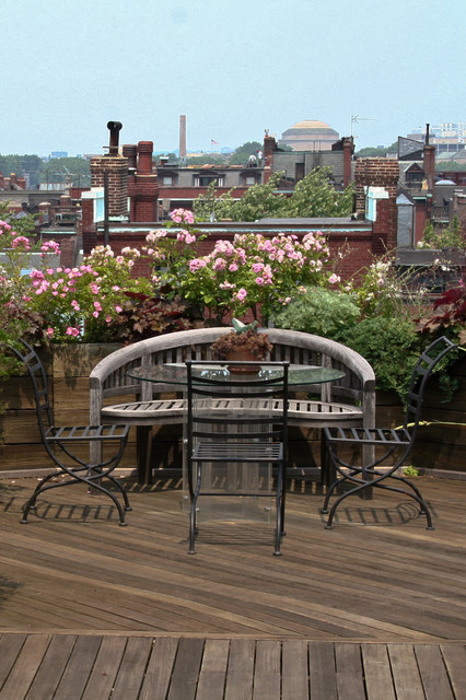 Brownstone Furniture Deck Eclectic with Brownstone Curved Wood Bench