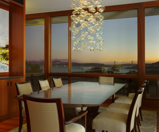 Bubble Chandelier Dining Room Contemporary with Area Rug Built In