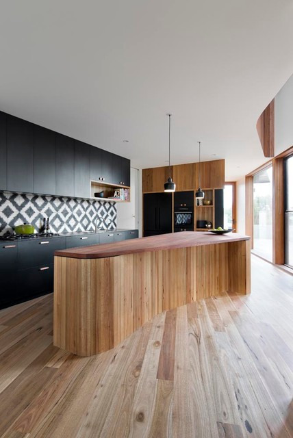 builders supply outlet Kitchen Contemporary with black and white kitchen
