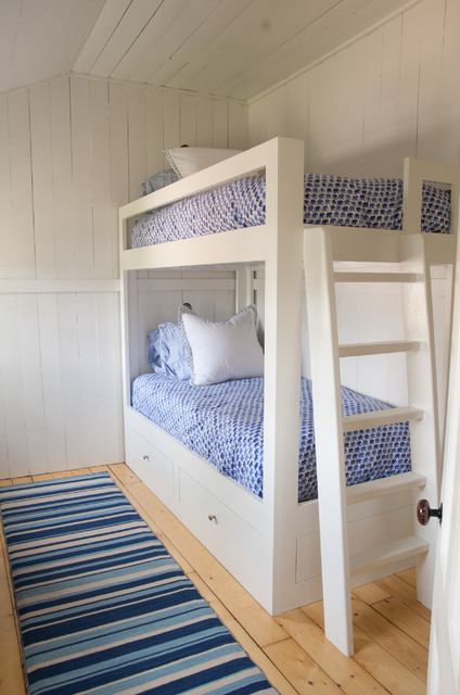 Bunk Bed with Desk Underneath Kids Beach with Bamboo Roman Shades Beach