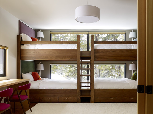 Bunk Bed with Desk Underneath Kids Contemporary with Area Rug Bedroom Built