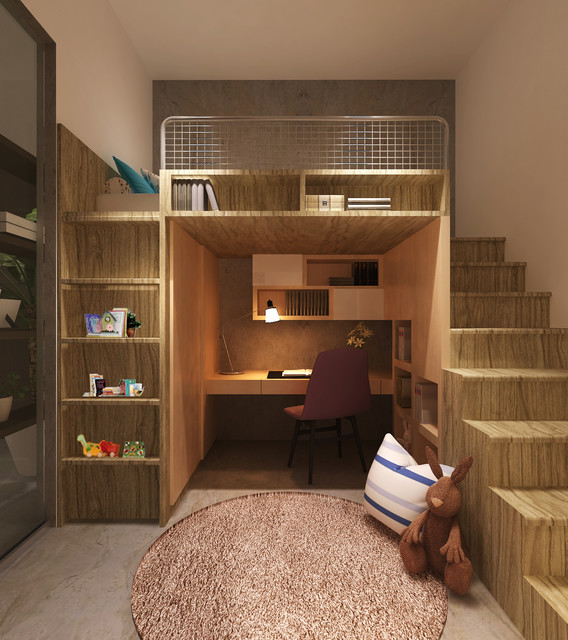 bunk bed with desk underneath Kids Contemporary with bed with desk underneath