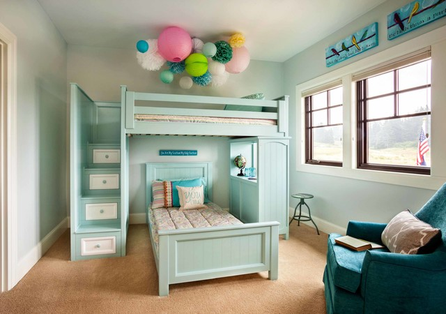 bunk bed with desk underneath Kids Traditional with armchair bar stool beige