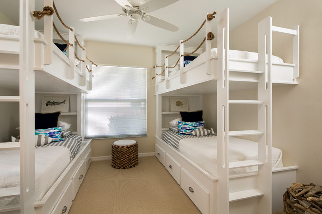 Bunk Beds for Adults Kids Beach with Beige Wall Bunk Bed