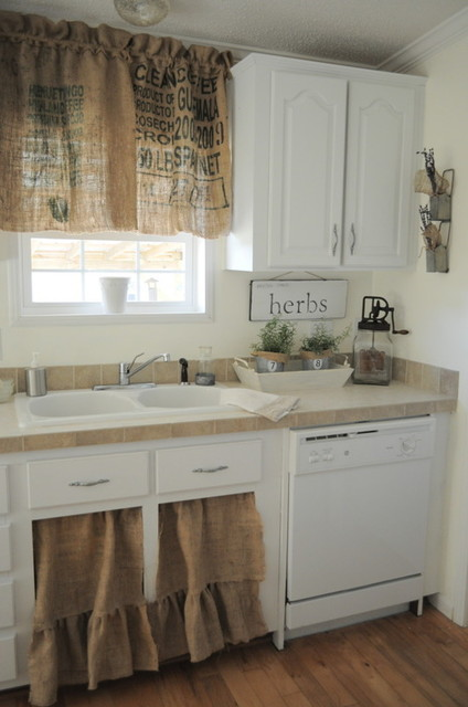 burlap curtains Kitchen Shabby-chic with buckets burlap farmhouse feed