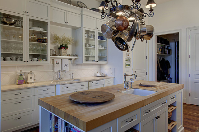 butcher block island Kitchen Traditional with butcher block countertops country