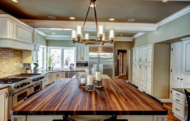 Butcher Block Table Tops Kitchen Traditional with Beige Backsplash Beige Ceiling