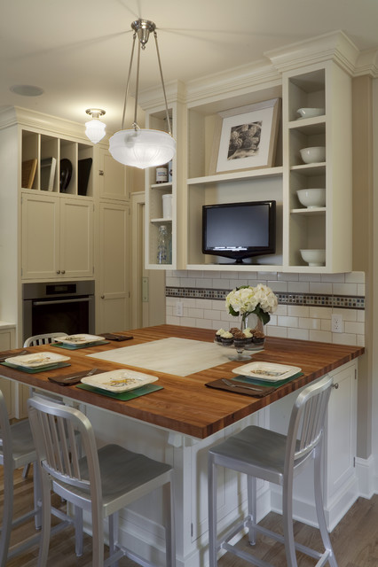 Butcher Block Table Tops Kitchen Traditional with Bowl Chandelier Breakfast Bar