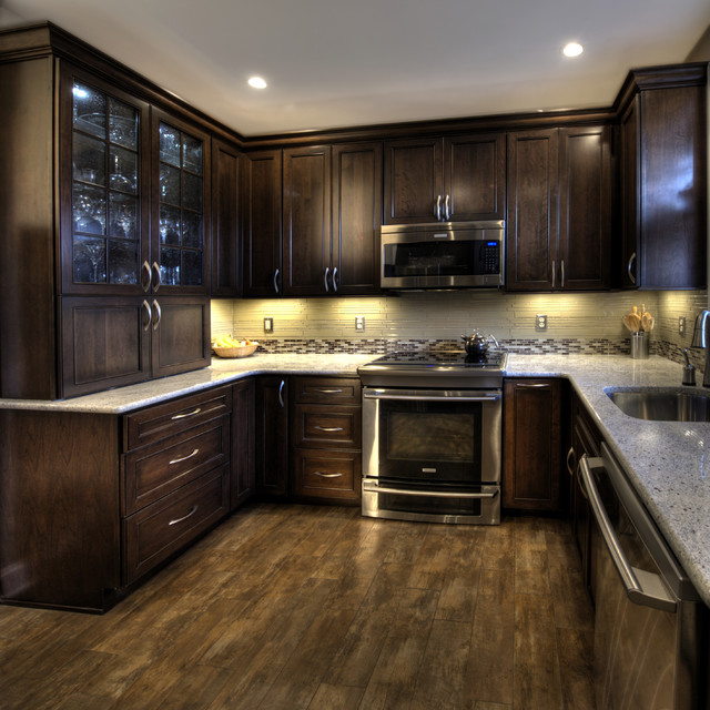 cabinet refacing cost Kitchen Traditional with accent tile backsplash barware