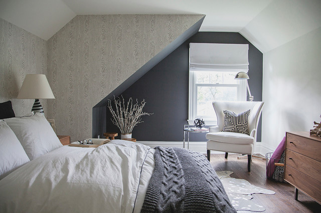 Cable Knit Blanket Bedroom Transitional with Charcoal Walls Cole And