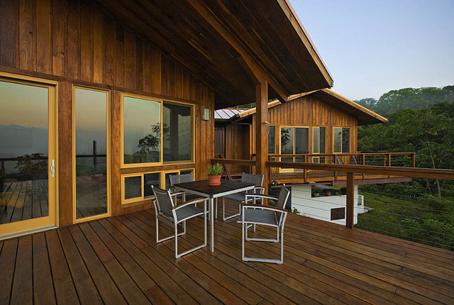 cable railing Exterior Rustic with cable railing deck eaves