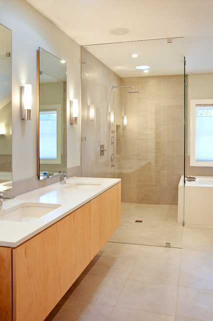 Caesarstone Colors Bathroom Modern with Bath Birch Floating Vanity