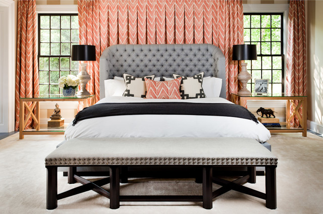 Cal King Headboard Bedroom Transitional with Bedside Lamps Beige Carpet