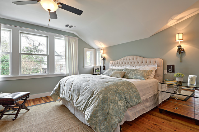 Cal King Headboard Bedroom Transitional with King Size Bed Light