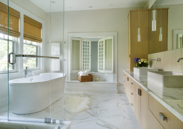 Calacatta Marble Bathroom Contemporary with Above Counter Sink Bamboo