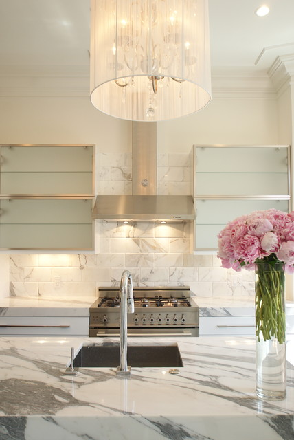 Calacatta Marble Kitchen Contemporary with Ceiling Lighting Crown Molding
