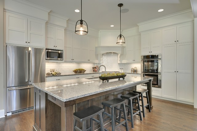 caledonia granite Kitchen Traditional with asian inspired bar stools