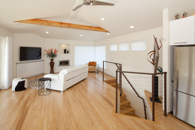 Cali Bamboo Flooring Family Room Contemporary with Beige Armchair Ceiling Fan