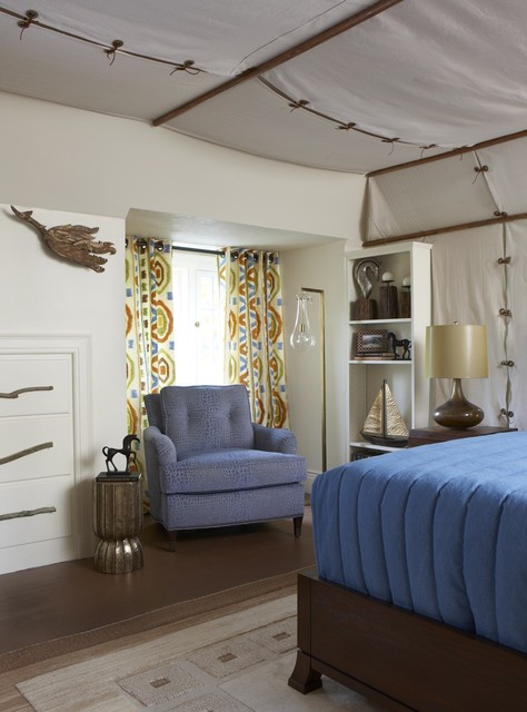 Campaign Dresser Bedroom Eclectic with Beige Wall Blue Armchair