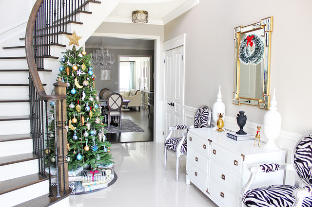 Campaign Dresser Entry Transitional with Christmas Tree Curved Staircase